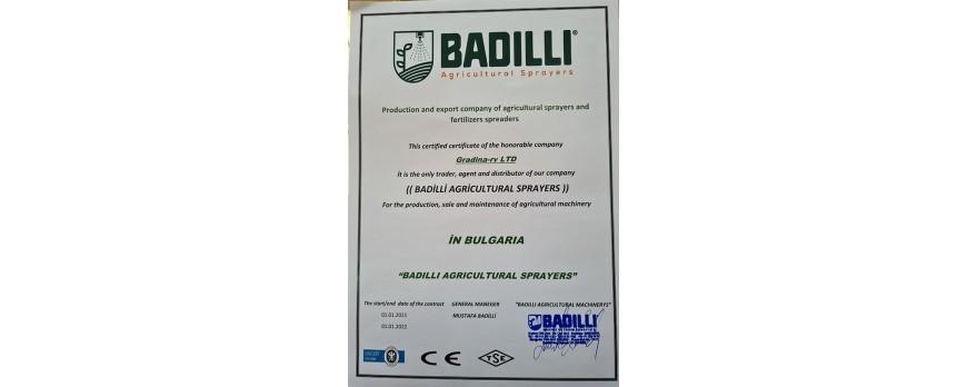 Официален вносител и представител на пръскачки за трактор Badilli за България
